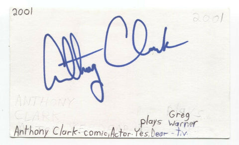 Anthony Clark Signed 3x5 Index Card Autographed Signature Actor