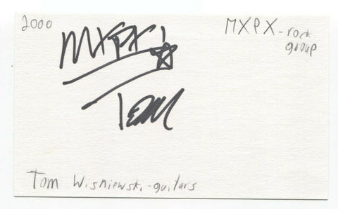 MxPx - Tom Wisniewski Signed 3x5 Index Card Autographed Signature Band