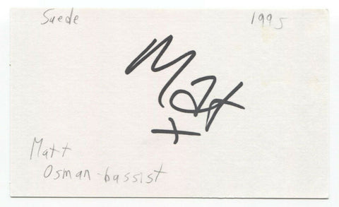 Suede - Mat Osman Signed 3x5 Index Card Autographed Signature