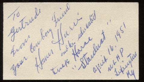 "Homer Harris and ""Stardust""  Signed Card  Autographed Authentic Signature"