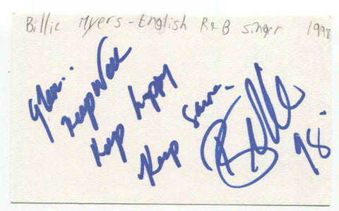 Billie Myers Signed 3x5 Index Card Autographed Signature Singer Kiss The Rain