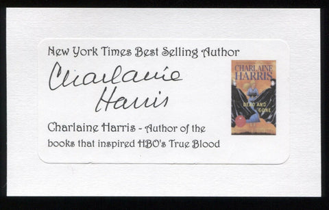Charlaine Harris Signed 3x5 Index Card Signature Autographed Author True Blood