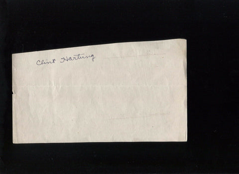 Clint Hartung Signed Document Cut New York Giants Autographed Signature