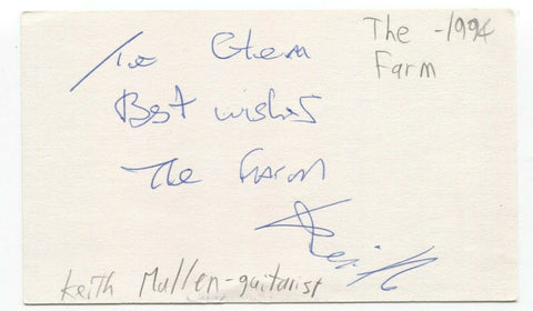 The Farm - Keith Mullin Signed 3x5 Index Card Autographed Signature