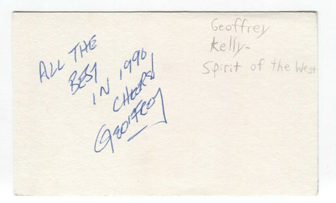 Spirit of the West - Geoffrey Kelly Signed 3x5 Index Card Autographed Signature