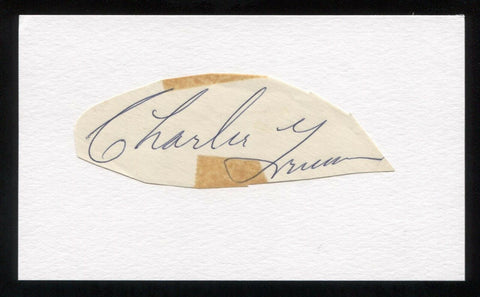 Charlie Grimm Signed Cut Autographed Index Card Circa 1962 Baseball Signature