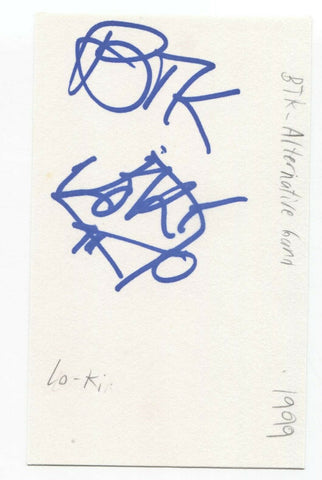 Birth Through Knowledge - Lo-Li Signed 3x5 Index Card Autographed Band BTK