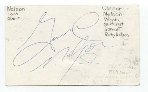 Gunnar Nelson Signed 3x5 Index Card Autographed Musician Signature