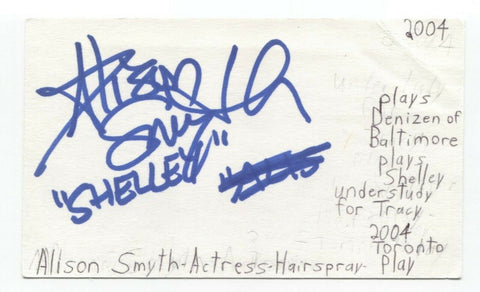 Alison Smythe Signed 3x5 Index Card Autographed Signature Actress Singer