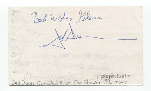 Jed Dixon Signed 3x5 Index Card Autographed Signature Actor