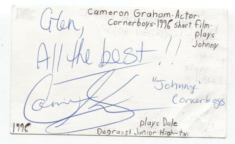 Cameron Graham Signed 3x5 Index Card Autographed Signature Actor Degrassi