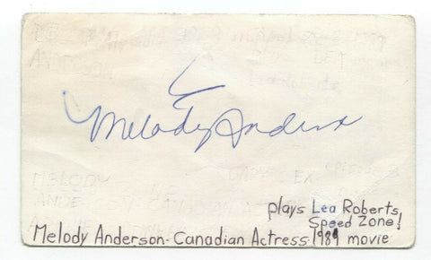 Melody Anderson Signed 3x5 Index Card Autographed Signature Actress Flash Gordon