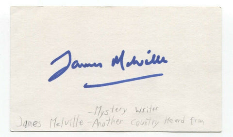 James Melville Signed 3x5 Index Card Autographed Signature Author