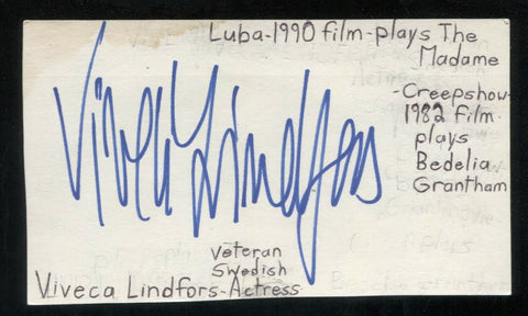 Viveca Lindfors Signed Cut 3x5 Index Card Autographed Signature Actress