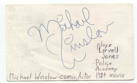 Michael Winslow Signed 3x5 Index Card Autographed Police Academy Spaceballs