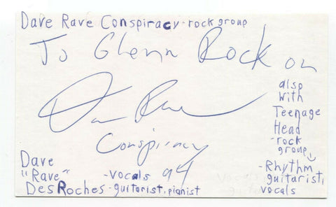 "Teenage Head - Dave ""Rave"" Desroches Signed 3x5 Index Card Autographed Band"