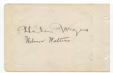 Helen Hayes and Wilmer Walter Signed Album Page Vintage Autographed Signature