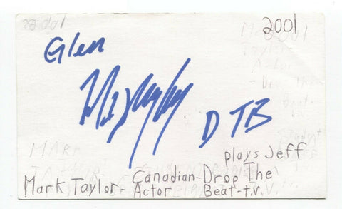 Mark Taylor Signed 3x5 Index Card Autograph Signature Canadian Actor