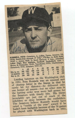 Pete Runnels Signed Bio Cut Sheet Page Baseball Autographed Signature