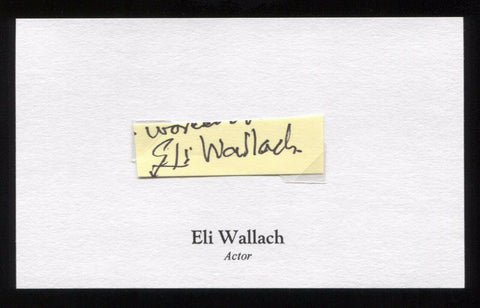 Eli Wallach Signed 3x5 Index Card Autographed Signature
