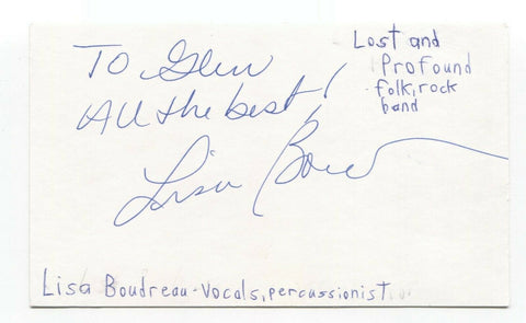 Lost and Profound - Lisa Boudreau Signed 3x5 Index Card Autographed Signature