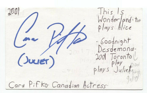 Cara Pifko Signed 3x5 Index Card Autographed Signature Actress