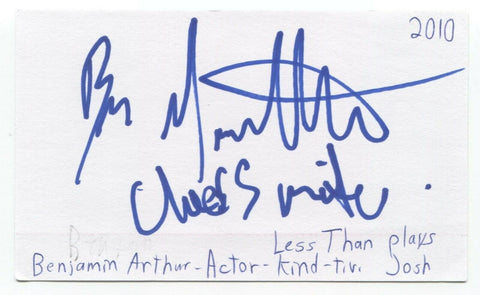 Benjamin Arthur Signed 3x5 Index Card Autographed Signature Actor Less Than Kind