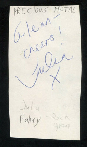 Previous Metal - Julia Fahey Signed Cut 3x5 Index Card Autographed Band