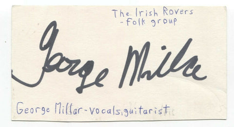 The Irish Rovers - George Millar Signed 3x5 Index Card Autographed Signature