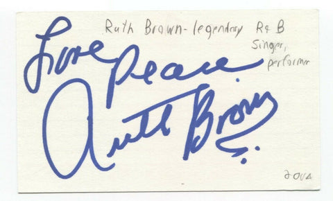 Ruth Brown Signed 3x5 Index Card Autographed Signature Singer