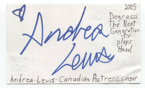 Andrea Lewis Signed 3x5 Index Card Autographed Signature Actress Degrassi