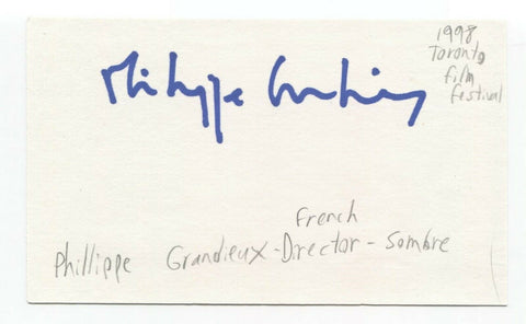 Philippe Grandrieux Signed 3x5 Index Card Autographed French Director