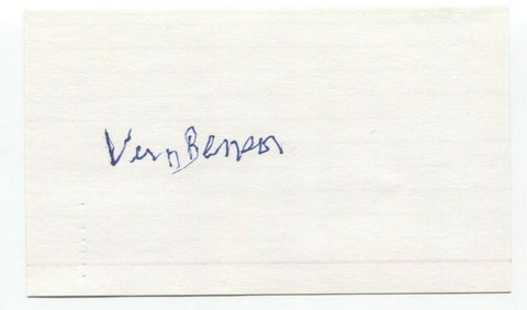 Vern Benson Signed 3x5 Index Card Baseball Autographed Signature