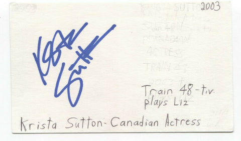 Krista Sutton Signed 3x5 Index Card Autographed Signature Actress