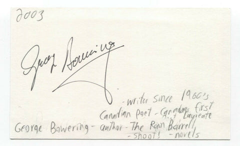 George Bowering Signed 3x5 Index Card Autographed Signature Author Poet