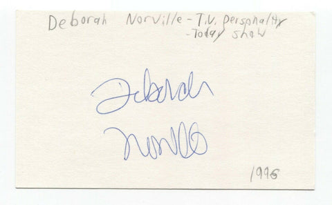 Deborah Norville Signed 3x5 Index Card Autographed  Inside Edition Today