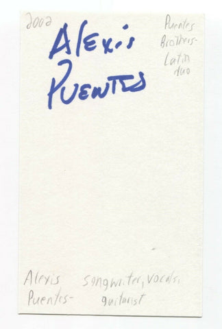 Puentes Brothers - Alexis Puentes - Alex Cuba Signed 3x5 Index Card Autographed