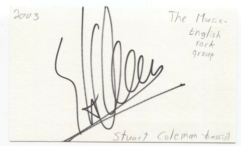 The Music - Stuart Coleman Signed 3x5 Index Card Autographed Signature Band