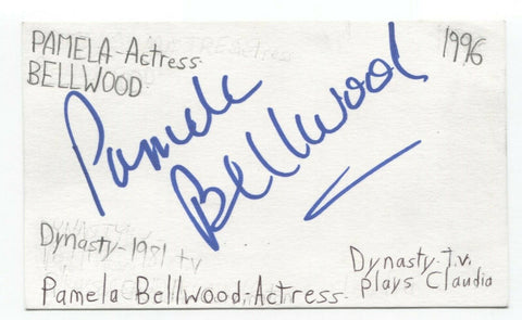 Pamela Bellwood Signed 3x5 Index Card Autographed Signature Actress Dynasty