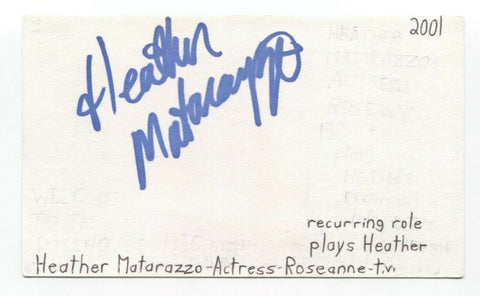 Heather Matarazzo Signed 3x5 Index Card Autographed Signature Princess Diaries