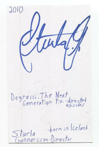 Sturla Gunnarsson Signed 3x5 Index Card Autographed Director