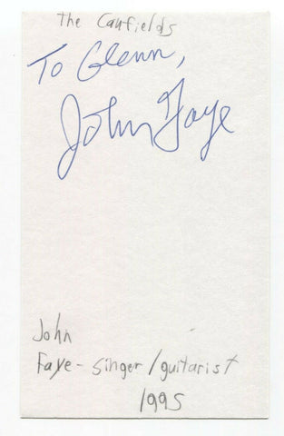 The Caulfields - John Faye Signed 3x5 Index Card Autographed Signature