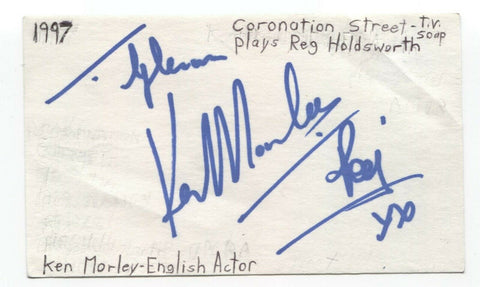 Ken Morley Signed 3x5 Index Card Autographed Signature Actor