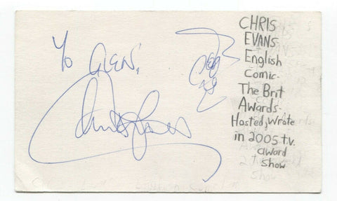 Chris Evans Signed 3x5 Index Card Autograph Signature Actor Presenter Top Gear