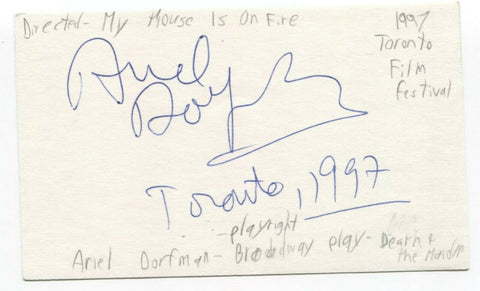 Ariel Dorfman Signed 3x5 Index Card Autographed Signature Playwright Author