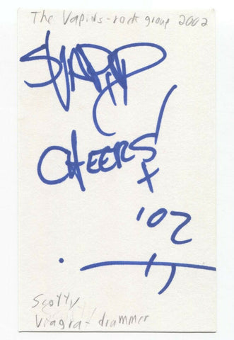 The Vapids - Scott Johnston Signed 3x5 Index Card Autographed Signature Band