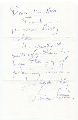 Theodore Lettvin Signed Letter Photo Autograph Signature Pianist Conductor