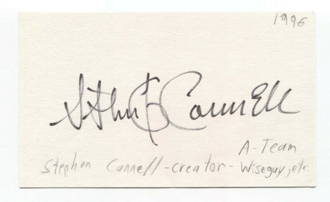 Stephen J. Cannell Signed 3x5 Index Card Autographed Producer A Team