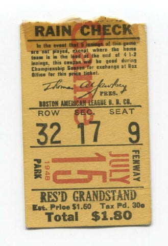 Boston Red Sox Vintage Ticket Stub July 15, 1948 Baseball Doubleheader