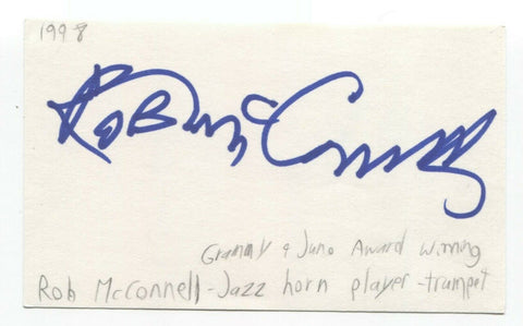 Rob McConnell Signed 3x5 Index Card Autographed Signature Composer Trombonist